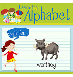 Flashcard letter w is for warthog vector