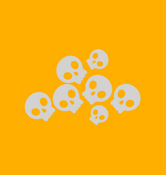 Flat icon on background halloween skulls vector