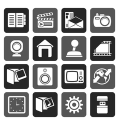 Flat internet computer and mobile phone icons vector