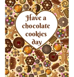 Gift card background with chocolate cookies and vector image vector image