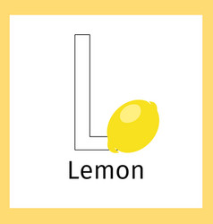 Lemon and letter l coloring page vector