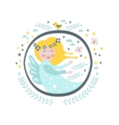 Magic fairy tale character girly sticker in round vector