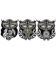 owls decorative design vector image