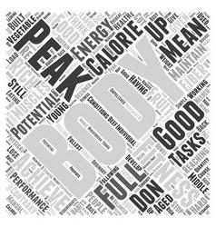 Peak fitness word cloud concept vector