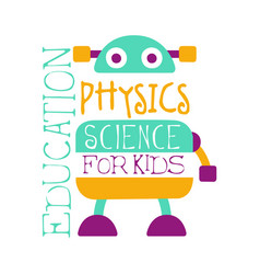 Physics education science for kids logo symbol vector