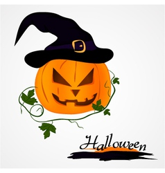 pumpkin with hat vector image vector image