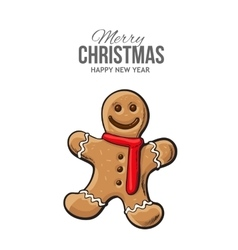 Traditional gingerbread Christmas greeting card vector image vector image