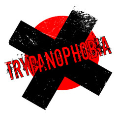 Trypanophobia fear of needles rubber stamp vector