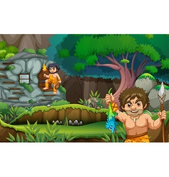 Two cavemen living in the stonehouse vector