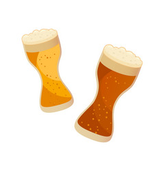 two glasses with dark and light beer isolated on vector image
