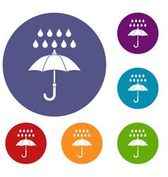 umbrella and rain icons set vector image vector image