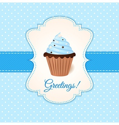 Vintage greetings card with blue cream cake vector
