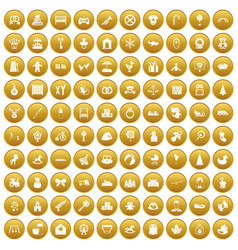 100 baby icons set gold vector