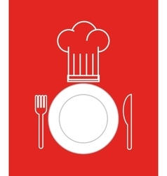 Dish and cutlery restaurant menu vector