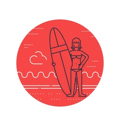 Woman on the beach with surf board standing vector image