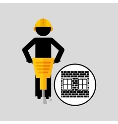 Construction brick worker jackhammer graphic vector