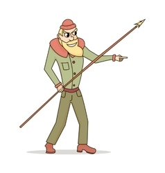 Cute and funny fisherman or hunter with a spear in vector