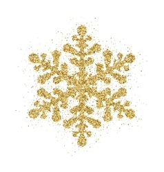 Gold glitter Christmas snowflake vector image