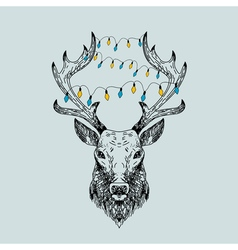 Hand drawn wild deer with christmas garlands vector