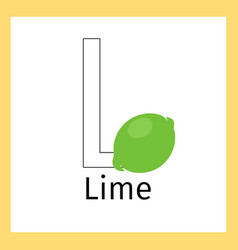 Lime and letter l coloring page vector