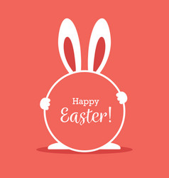 Easter greeting card with round frame and bunny vector