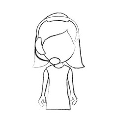 monochrome sketch of half body woman of call vector image