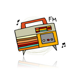 Vintage radio sketch for your design vector