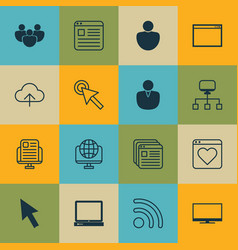 Set of 16 online connection icons includes pc vector