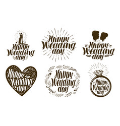 Happy wedding day label set married couple love vector