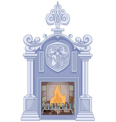 medieval fireplace vector image