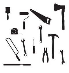 With different tools silhouettes isol vector