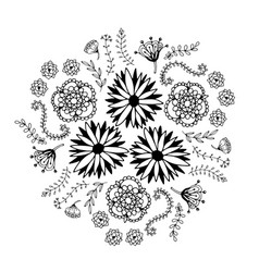 Abstract floral circle with doodle flowers round vector