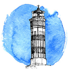 Sketch of lighthouse vector