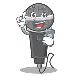 With phone microphone cartoon character design vector