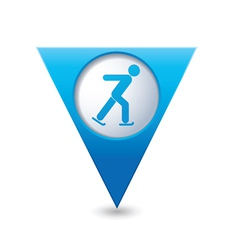 Skater icon on blue triangular map pointer vector