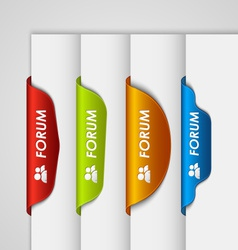 Color label bookmark forum on the edge of web page vector