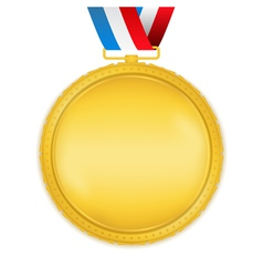 Golden Medal with Ribbon vector image