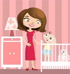mother with baby vector image