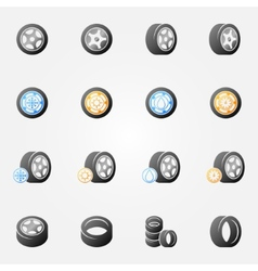 Tire and wheels icons set vector