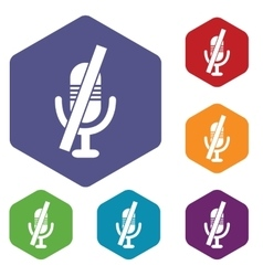 Muted microphone hexagon icon set vector