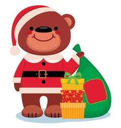Teddy bear santa claus with christmas gifts vector