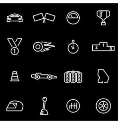 Line racing icon set vector