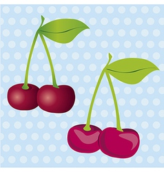 And 3d cherries on a blue background with white do vector