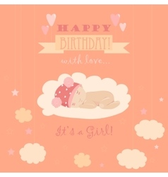 Baby theme It s a girl card vector image