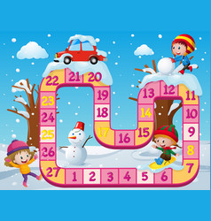 Boardgame template with kids in the snow vector