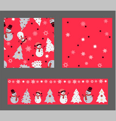 bright red colors set with seamless patterns vector image vector image