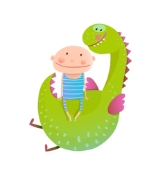 Child and dragon friendly friendship happy vector