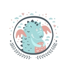 Chubby dragon fairy tale character girly sticker vector