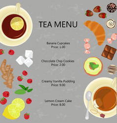 Cups of tea and sweets vector