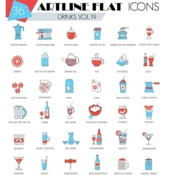 Drinks ultra modern outline artline flat vector image